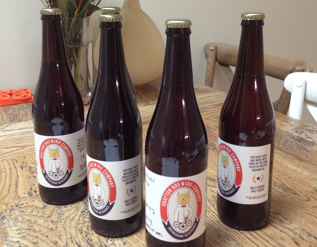 Beer label with 4 bottles