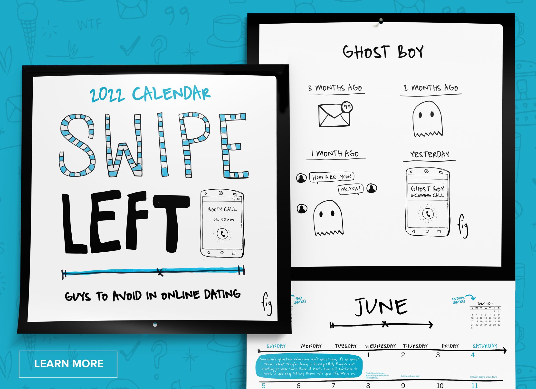 Swipe Left calendar cover and internal sread on a blue background.