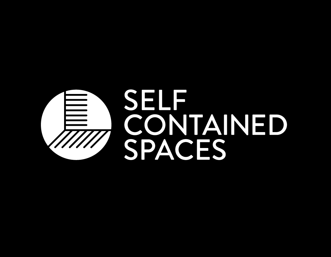 Self Contained Spaces logo on black background
