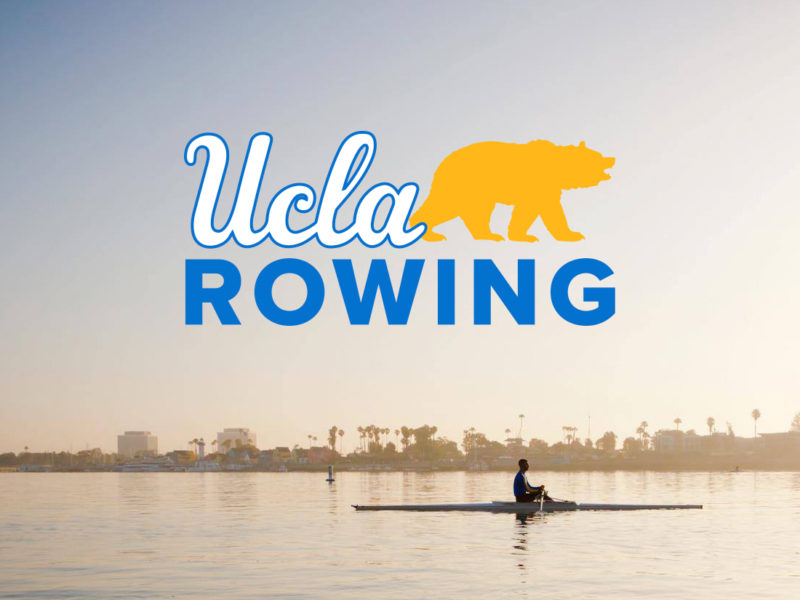 Single Scull rowing with UCLA logo over the top